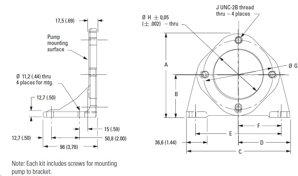 Foot Mounts dimensions