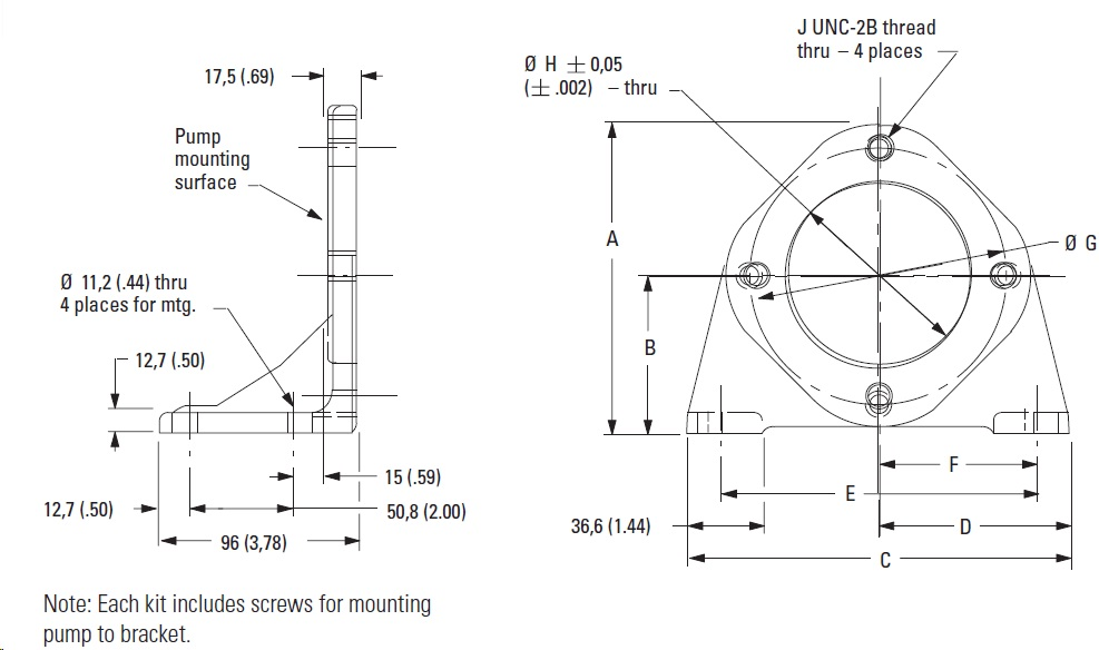 Foot Mounts dimensions