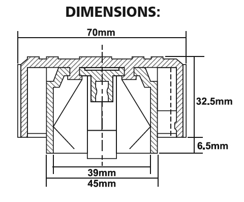 Plastic - High Impact Techno Polymer dimensions