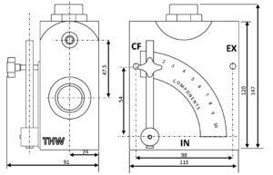 THW-Flow-Control-Valve-Dimensions
